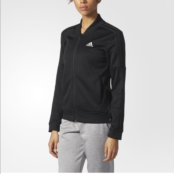 bb4b976f8 adidas Snap Track Jacket Women's Black Stripe L XL NWT